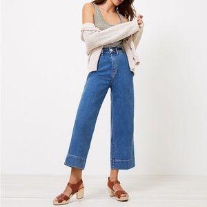 LOFT High Waist Wide Leg Crop Jeans 29 G4